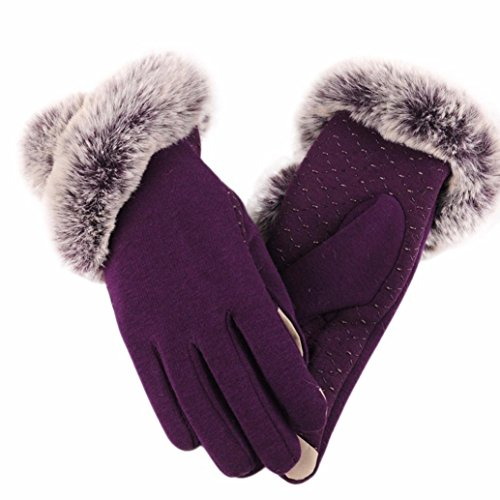 Handschuhe Damen Longra Luxuriöse Frauen Mädchen PU Leder Handschuhe Winter Warm Driving Soft Futter Handschuhe mit Künstlich Pelz (Purple) (Frauen Leder Handschuhe Tasche)