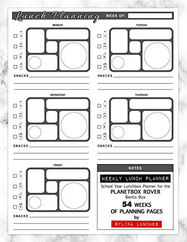 Weekly Lunch Planner: School Year Lunchbox Planner for the PlanetBox Rover Bento Box: 54 Weeks of Planning Pages (Bento Box Lunch Ideas, Band 1) (Planetbox-lunch-box)