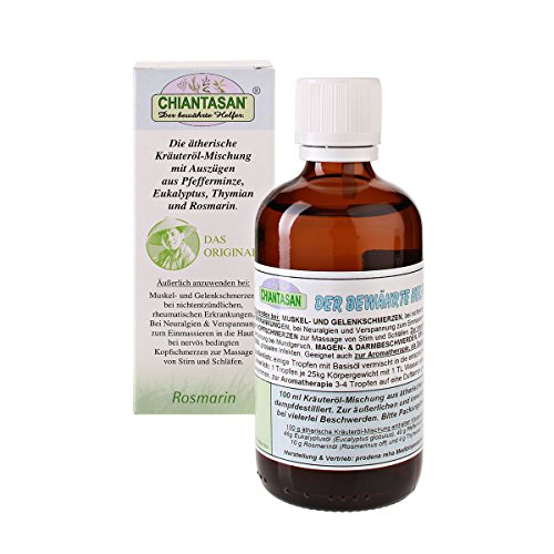 CHIANTASAN ätherische Kräuteröl-Mischung - 100ml Flasche | früher: Dr. M. Grubel Destillat, ein Körperpflege-Produkt mit natürlichen, ätherischen Ölen aus Eukalyptus, Pfefferminze, Rosmarin und Thymian - PZN: 08837772