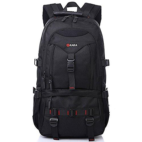 KAKA Rucksack Männer Laptop Rucksack 15,6 zoll Herren College Backpack Outdoor Sport Daypack Wanderrucksack für Wandern Reisen Weekender Schwarz 2020 (Laptop Tote 17zoll)