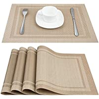 Dzman Placemat,Table Mats, 18L X 12W (Inch) Set of 6 Insulated Washable Non-Slip Table Mats for Dining Tables and Kitchens(Gold) (Yellow - 4 set)