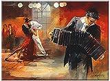 Bandoneón - cuadro en lienzo, Willem Haenraets, 80 x 56 cm, Giclee, impresión de alta calidad, impresión digital sobre lienzo artístico, enmarcado en bastidores de madera con colgador, arte moderno, cuadro listo para colgar
