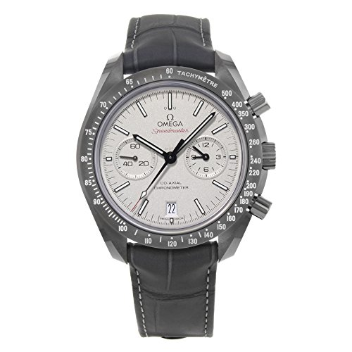 Omega Speedmaster Professional Grigio Side of the Moon, automatico, con cassa sabbiata-Orologio cronografo da uomo in pelle, colore: grigio platino 31193445199001 Orologio da uomo