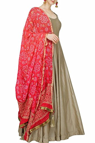 FebForrest Womens\'s Grey Tapeta Silk Attractive Traditional Dress Materials/Salwar Suit (Free Size) [SDM 34 (FF_E1)]