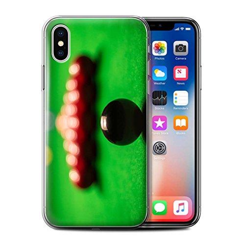 Stuff4 Gel TPU Hülle / Case für Apple iPhone X/10 / Blaue Kugel/Rack/Rosa Muster / Snooker Kollektion Schwarze Kugel/Rack