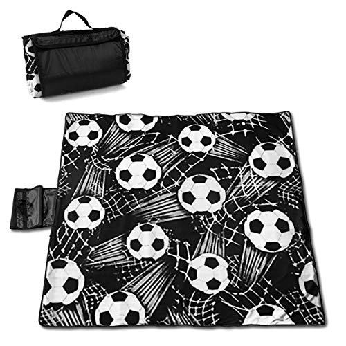 Black Soccer Ball Portable Large Picnic Blanket 57
