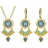 Lucia Costin Silver, Light Blue, Blue Crystal Jewelry Set, Astonishing