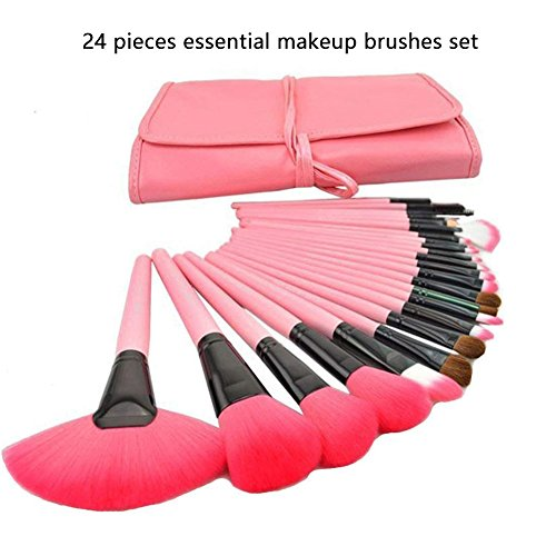 Makeup Brushes Set, Zarsson Professional Make up Eye Brushes Eyeliner Eyeshadow Palette with 24pcs Cosmetic Brushes Kit, 33 Colors Eye Shadow and a Mirror in Gift Box, Pink