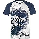 Game of Thrones - Dipinto Stark Logo - Uomo Ufficiale Raglan Maglietta - Bianco, XL