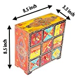 Home and Bazaar Traditional Handpainted 9 Drawer Chest. 8.5x3.5x8.5 Inch