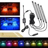 Xcellent Global bande de lumière pour la décoration intérieure des voitures, 48 LEDs 8 Couleurs, néons Waterproof avec son actif et télécommande AT019