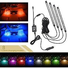 Xcellent Global Luz Interior de Coche 8 Colores Tira Luz Impermeable 48 LEDS Brillo Neón Decoración Ambiente Control Remoto de Sonido AT019