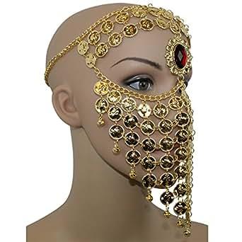 Gold Red Gem Belly Dance Costume Headwear Coins Face Mask Veil Tribal Bedouin Burka Burqa