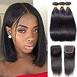 Lote de 3 paquetes de cabello humano virgen brasileño con cierre 100% sin procesar, con cierre de encaje, parte natural, color natural, color 8 10 12 + 8 pulgadas