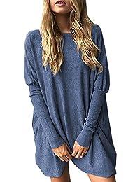 Minetom Mujeres Jersey Mini Vestido Dress Suéter De Punto Cuello O Moda Pullover Sweater Jumper Camisa Larga Suelto Otoño Invierno Tops