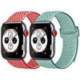 Amzpas Cinturino Compatibile con per Apple Watch Cinturini 42mm 44mm,Ricambio in Nylon Morbido Compatibile con per iWatch Series 4/3/2/1,Nike+,Sport Edition(&01 Arancio Rossastro+Turchese, 42mm(44mm))