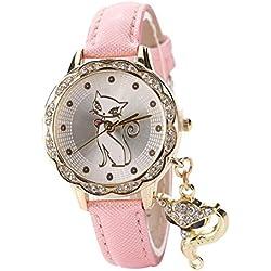 Vovotrade Moda joya mujer gato colgante de diamantes de lujo de cristal analógico de cuarzo reloj de pulsera (Rosa)