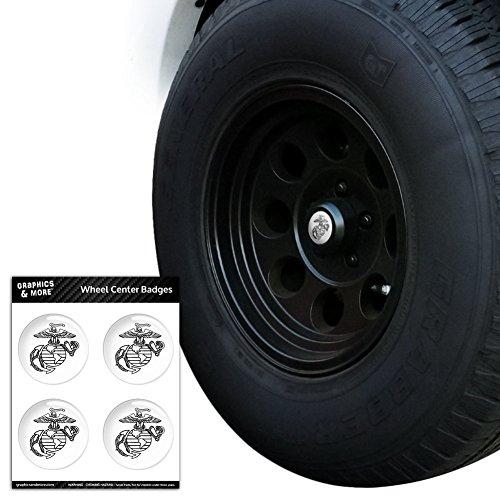 Marine Corps USMC schwarz weiß Eagle Globe Anchor Logo offizielles Lizenzprodukt Tire Rad Center Gap resin-topped Abzeichen Aufkleber–7,1cm (7,1) Durchmesser (Usmc-logo-aufkleber)