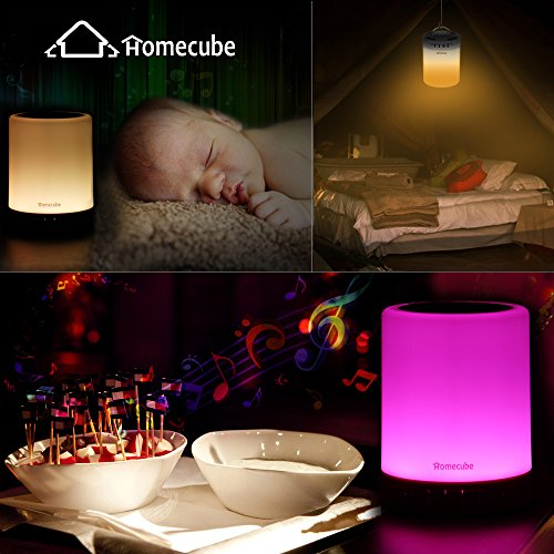Bluetooth Speaker Lamp, Homecube Bedside Lamp with Wireless Bluetooth Speakers Touch Dimmable Table Lamp Night light with TF Card , AUX Supported, Hands-free Speakerphone, Metal Handle for Children bedroom, Party, Outdoor Camping