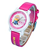 despicable me banana minions kids cartoon Watches leather Watch WP@KTWHR001M