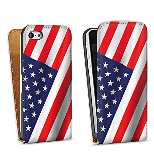 Apple iPhone 5s Housse Étui Protection Coque USA Drapeau Amérique Drapeau Sac Downflip blanc