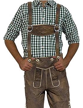 Herren Trachten Lederhose Kurz aus wildbuckleder, Trachtenlederhose mit Trägern,moor-antik speckig, karl, Gr....