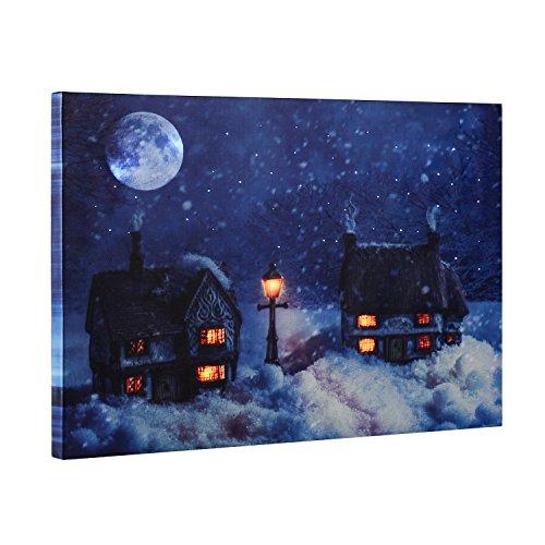 Weihnachten Dekoration Light Up LED & Musik Leinwand Wandbild (Verschneite Nacht Szene) 40cm x 30cm Dekorationen, ksendalo Home Decor