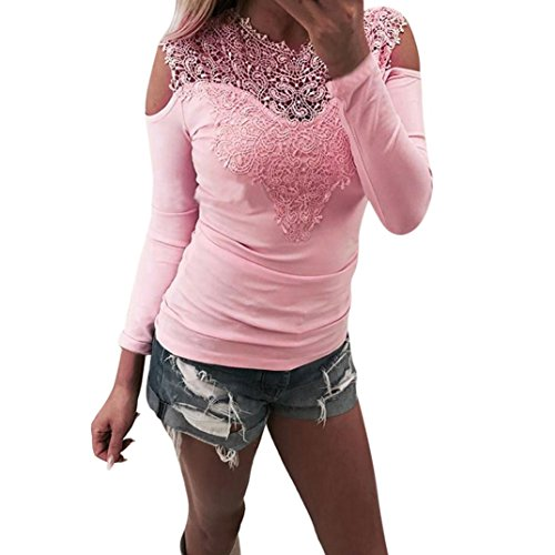 Bluse Damen Elegant,Hansee Sexy Frauen Langarm O Hals Spitze Patchwork Sweatshirt Bluse Pullover Grau Rosa Hemd Herbst Frühling Kleidung (L, Rosa) (Hahnentritt-kragen)