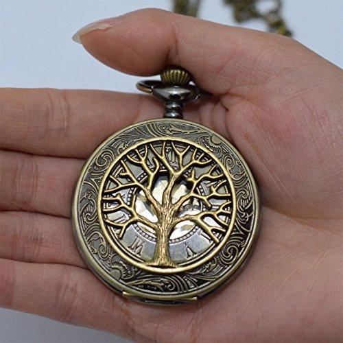 Baum des Lebens Rom Retro Charms Anhänger Baum des Lebens Watch Halskette Anhänger Charm Herren Taschenuhr Taschenuhr Halskette Anhänger einfach rund