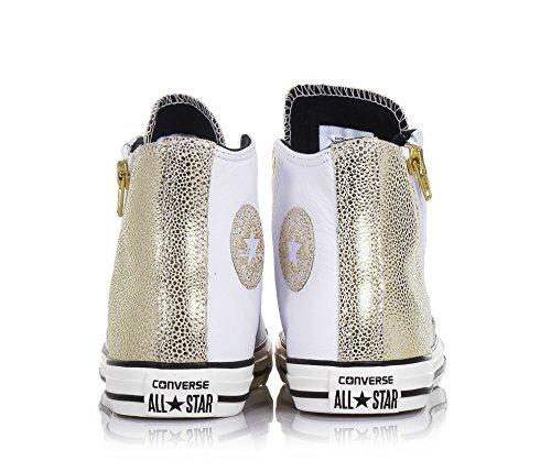 CONVERSE - Sneaker stringata bianca e dorata, in pelle, con chiusura zip laterale, logo laterale, cuciture a vista e suola in gomma, Bambina, Ragazza, Donna Bianco