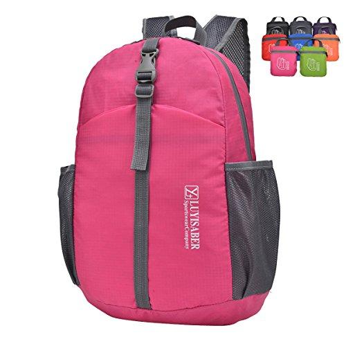 Butterme Impermeabile Packable Pieghevole Leggera Corsa Esterna di Sport dello Zaino dello Zaino Daypack Rosa caldo