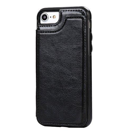 GR iPhone 7 4.7 Zoll Case-Crazy Horse Textur Leder zurück Schutzhülle mit Halter & Kartensteckplätze und Brieftasche ( Color : Red ) Black