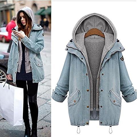 DAYLIN Winter Plus Size Women Collar Coat Jacket Denim Trench