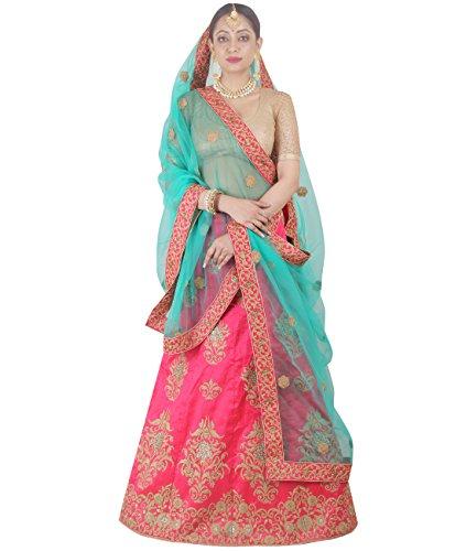 Indian Ethnicwear Bollywood Pakistani Wedding Pink A-Line Lehenga Semi-stitched-DIVISL048
