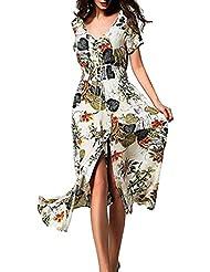 Reaso Femme Robe de Plage Longue Imprimé Floral Col V Manches Court été Soirée Fete Cocktail Maxi Boho Dress Asymétrique