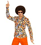 70er Jahre Retro HEMD mit und ohne Muster Disco Herren Kostüm Siebziger Schlager, Größe:S/M;Farbe:Bubbles