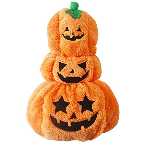Zorux Hundekostüm für Halloween, Kürbismotiv, Fleece, warm, Größe XS/L