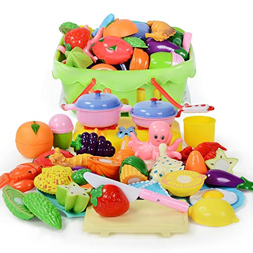 NextX Kids Kitchen Toy 29PCS Pretend Play Food Set Cutting Fruits Vegetables Educational Gift for Boys and Girls with Shopping Basket