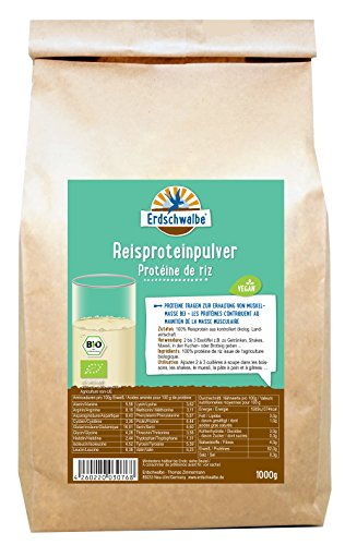 Erdschwalbe Bio Reisprotein / 82% Proteingehalt / Vegan und glutenfreies Eiweißpulver / 1 Kg (Paleo Diät-protein-pulver)