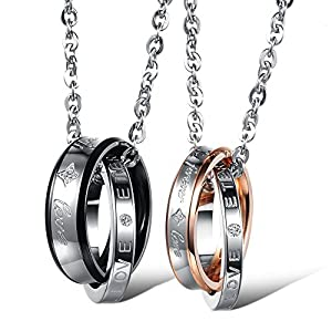 """Kim Johanson Pärchen Halsketten """"Endless Love"""" für verliebte aus Edelstahl mit doppelten Ringen und Gravur inkl. Schmuckbeutel"""