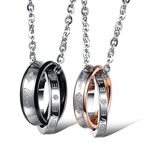 """Kim Johanson Pärchen Halsketten \""""Endless Love\"""" für verliebte aus Edelstahl mit doppelten Ringen und Gravur inkl. Schmuckbeutel"""