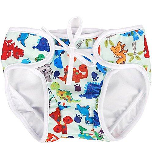 Hosaire Pañal bañador Bebés Ajustable Bañador Pañal de Tela Reutilizable Lavable Diaper Para Bebé Unisex size L (Dinosaurio)