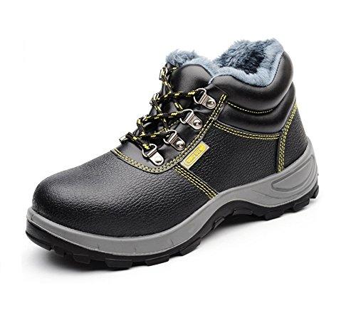 AILU Arbeitsschuhe mit Stahlkappe Wasserdicht Herren Sicherheitsstiefel mit Stahlkappe Stahlkappen Schuhe Work Shoes Schwarz
