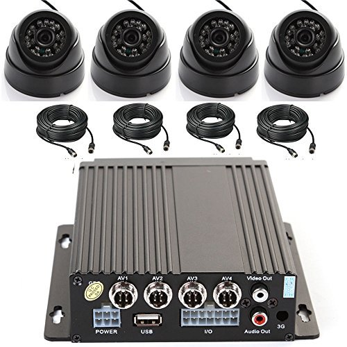 Wen&Cheng 4 Kanal AHD Mobile DVR Rekorder Echtzeit Auto Black Box mit Fernbedienung + 4X 24 Infrarot LED Dome-Kamera + 4X Kabel Überwachungskit für Bus LKW Sicherheit Black-box-kabel Audio-kabel