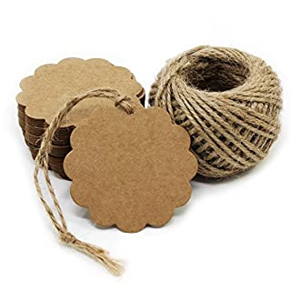 Aussel Brown Kraft Paper Tags Rectangle Craft Gift Hanging Tags with Jute Twine 100 Pack (Style 3)