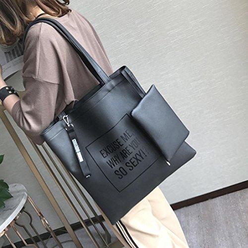 Longra Borsa della moneta del telefono del sacchetto del messaggero della borsa della borsa a tracolla della borsa del crossbody delle donne 2PC di modo Nero