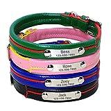 Berry weich Luxus Leder-Hundehalsband, aus Edelstahl, mit Haustier-ID-Tags mit –, echtes Leder, beschichtet mit Hunde-Halsbänder für kleine Hunde, Schwarz, Rosa, Blau, Grün, XS, S, M
