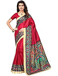 Ishin Poly Synthetic Kalamkari Printed Women's Saree Sari