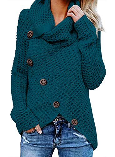 FIYOTE Damen Winterjacke Warm Strickjacke Rollkragen Cardigan Strickpullover Casual Wrap Wickel Pullover Sweater 7 Farbe S/M/L/XL/XXL, Blau, X-Large(EU48-EU50) -