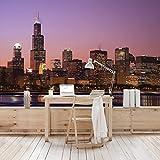 Apalis Vliestapete Chicago Skyline Fototapete Breit | Vlies Tapete Wandtapete Wandbild Foto 3D Fototapete für Schlafzimmer Wohnzimmer Küche | rosa, 94559